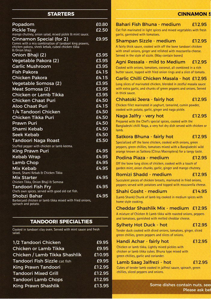 Take away menu for Cinnamon Spice in Silverdale.P2