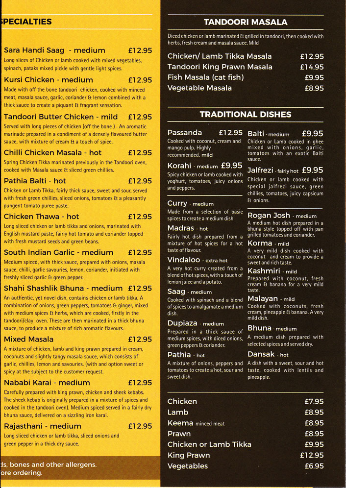 Take away menu for Cinnamon Spice in Silverdale. P3